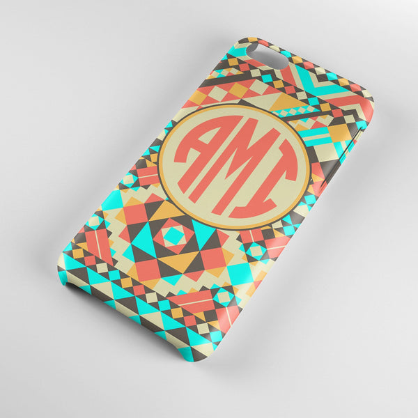 Coral and turquoise tribal print - Personalized iPhone case with initials for teens