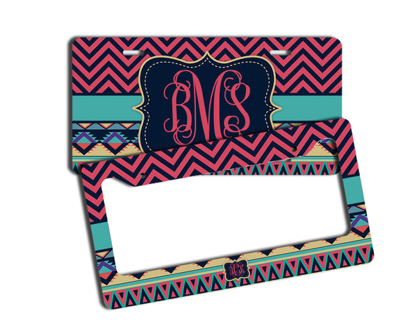 TRIBAL AND CHEVRON - MONOGRAMMED LICENSE PLATE