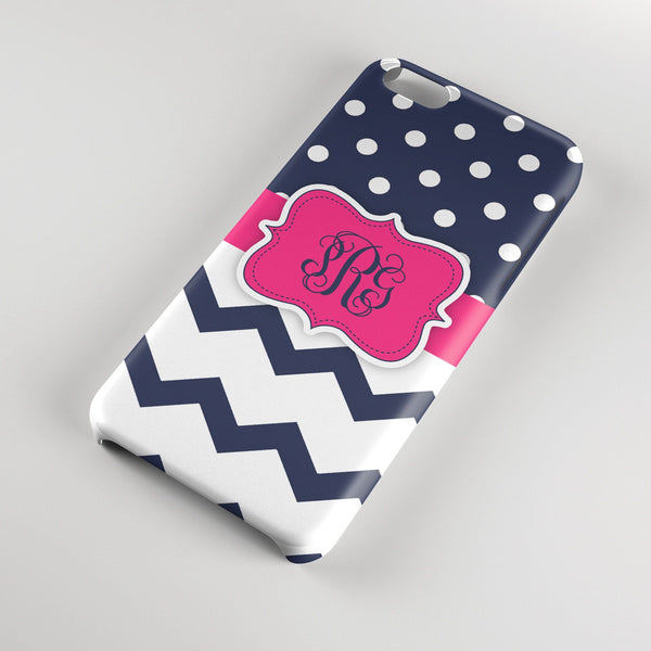 Navy blue and hot pink polka dots with chevron - Girls personalized iPhone case