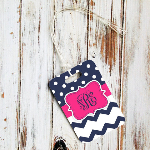 Pink and navy blue polka dots and chevron - Personalized backpack tag for girls