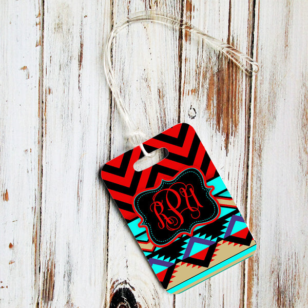 Tribal print in red, turquoise and black - Custom gifts for women with initials