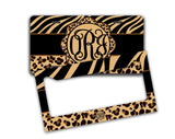 Monogrammed Animal print key chain - Tiger stripe with zebra - Cute car accesories