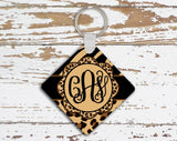 Monogrammed bag tag id - Tiger stripe with zebra - Cute animal print accessory