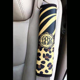 Animal print auto decor - Tiger stripe with zebra - Padded seat belt cover Neoprene