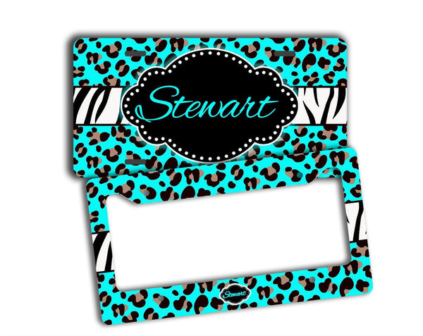 CHEETAH OR LEOPARD PRINT WITH ZEBRA STRIPE - CUTE FRONT LICENSE PLATE