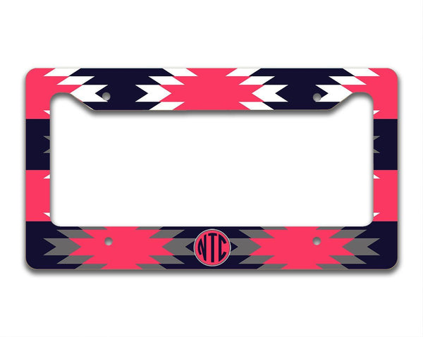 Aztec print in navy blue and dark red coral - Personalized car sticker for women