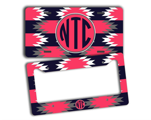 Aztec print in navy blue and dark red coral - Personalized car decor for women