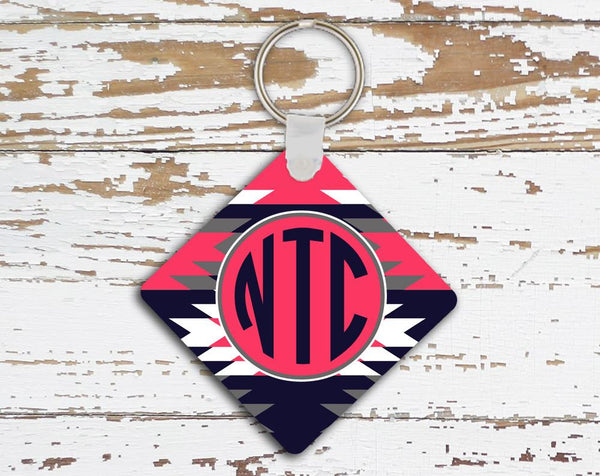 Aztec print in navy blue and dark red coral - Personalized keychain for women
