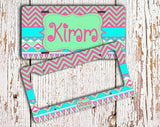 Pink and green Aztec with chevron - Sweet 16 gifts - Girl's auto decor