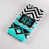 Teenaged girl's Iphone case - Black and white chevron with Aztec