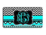 Turquoise and black Aztec with chevron - Unique gift for mom - Tribal auto decor