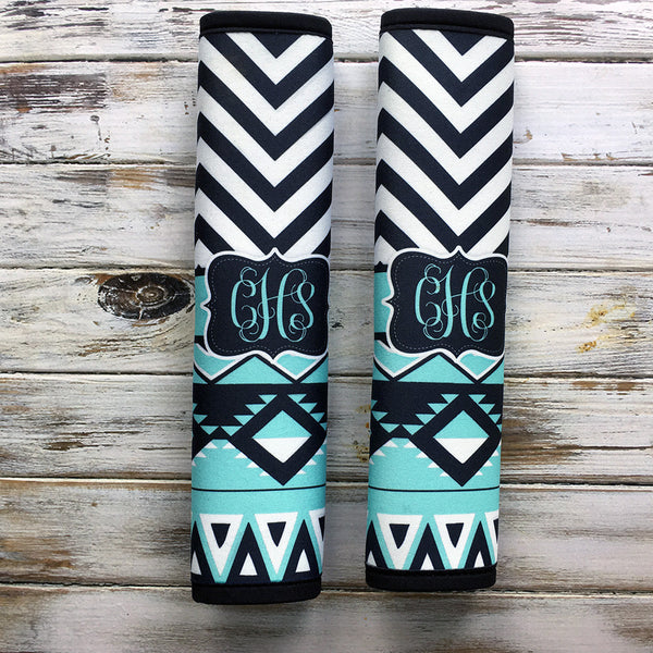 Turquoise and black Aztec with chevron - Unique gift for mom - Tribal padded seat belt strap cover
