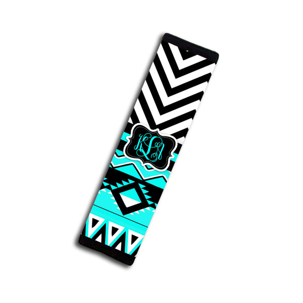 Turquoise and black Aztec with chevron - Tribal car coaster with monogram