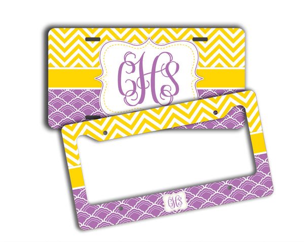Yellow and purple car accessories - Chevron and shell patterns - Gifts for women