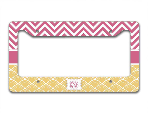 Pretty car decor - Chevron and shell pattern, raspberry and gold - Washable seat belt cover