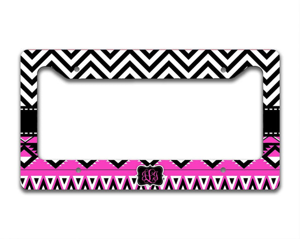 Pink and black chevron car decor - Aztec front car tag - Personalized gifts