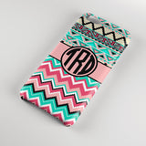 Monogrammed Iphone case for tweens - Pink and blue chevron with Aztec