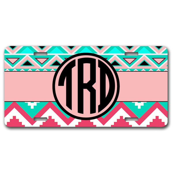 Blue and pink tribal print with chevron - Monogrammed car tag frame or plate