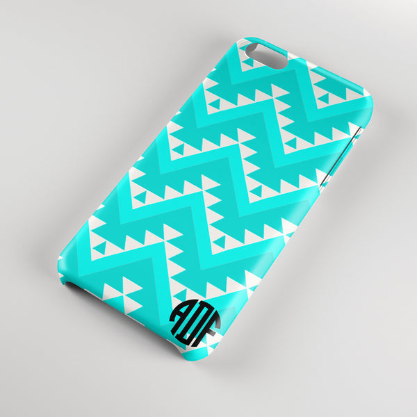 Turquoise chevron Iphone case - Monogrammed with your initials