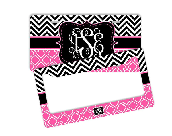 PRETTY CHEVRON WITH MOROCCAN PATTERN  - MONOGRAMMED LICENSE PLATE