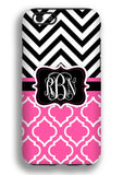 Hot pink and black - Chevron with clover print - Personalized Iphone case