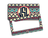 Chevron aztec seat belt cover - Turquoise and red - Monogrammed auto accessories
