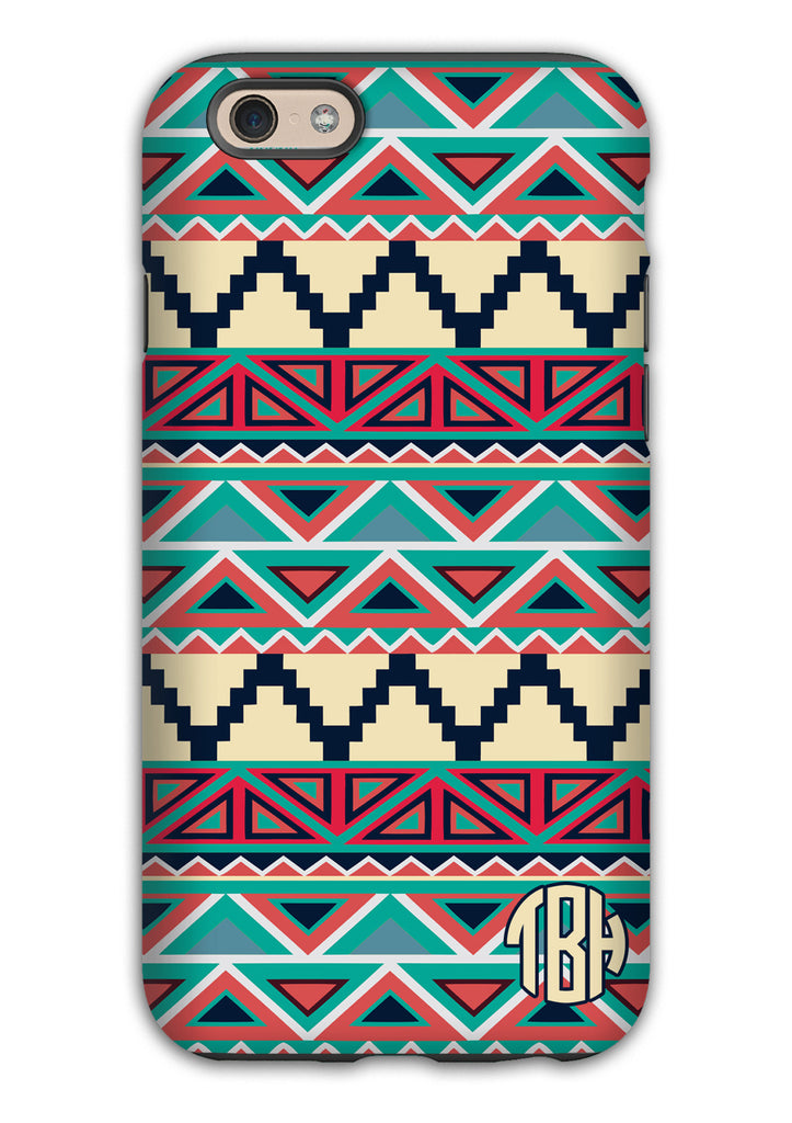 Tribal pattern Iphone case - Blues and red monogrammed phone case