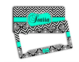 Black and white floral print with chevron - Personalized front license plate or frame