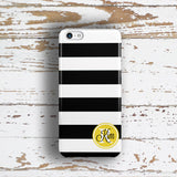 Striped nautical Iphone case - Black and white with yellow heart monogram
