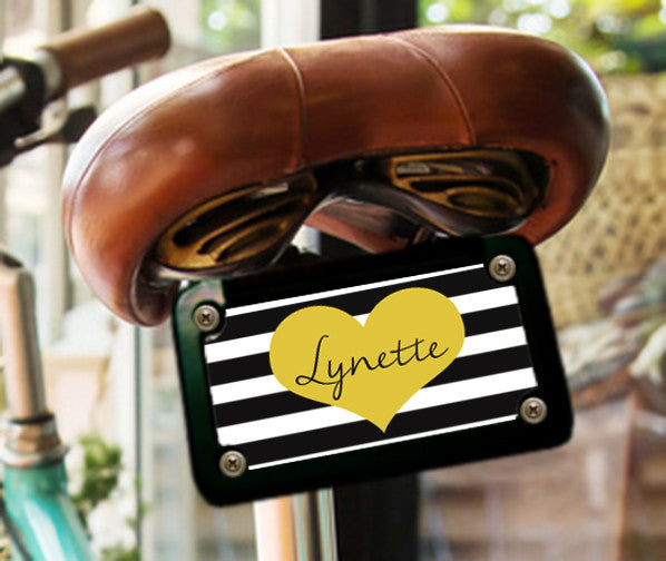 STRIPES AND HEART - CUSTOM LICENSE PLATE OR FRAME OR BICYCLE PLATE