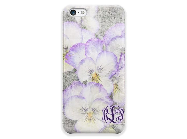 Purple pansies watercolor - Pretty floral plastic Iphone case - Personalized gifts for women