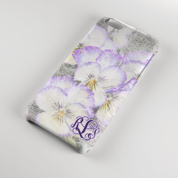 Purple pansies watercolor - Pretty floral Iphone case - Personalized gifts for women