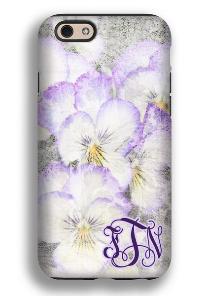 Purple pansies watercolor - Pretty floral tough Iphone case - Personalized gifts for women