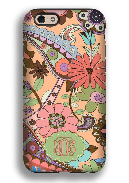 Floral monogram Iphone case - Orange and coral flowers