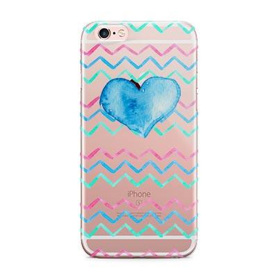 iPhone case with clear back- Pink and blue chevron with heart - Inexpensive gift for tweens