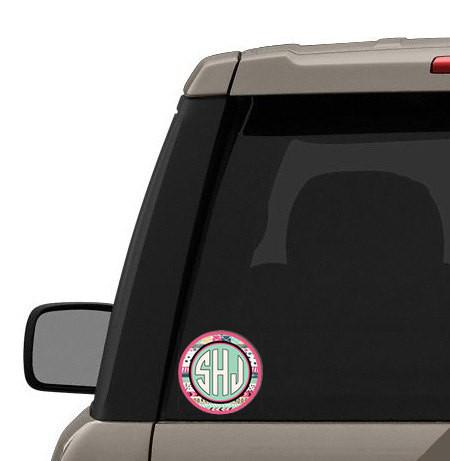 Girly auto accessories - Aztec print in light blue and purpley pink - Monogrammed car decal