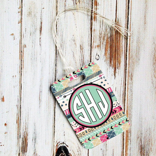 Girly auto accessories - Aztec print in light blue and purpley pink - Monogrammed luggage tag