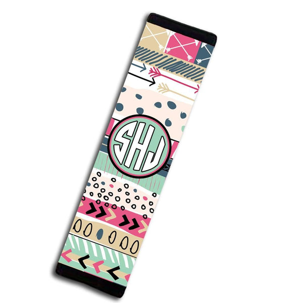 Girly auto accessories - Aztec print in light blue and purpley pink - Monogrammed padded seat belt cover