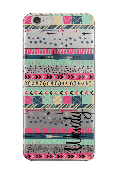 Aztec iPhone clear case - Aqua and pink tribal print - Personalised gifts for her
