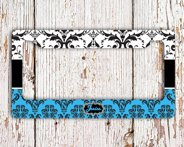 Blue and white floral damask - Personalizable vanity license plate or frame