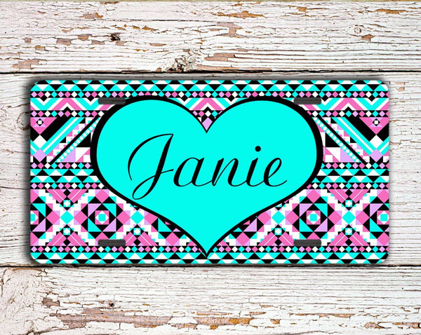 Aztec print with heart monogram - Girly auto accessories with your name or text
