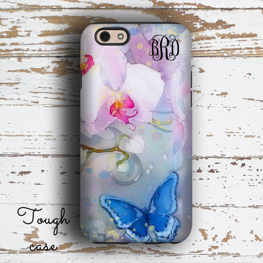 Floral butterfly watercolor - Monogrammed Iphone case - Gifts for women