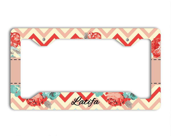 Chevron and floral in pink, blue and red - Pretty personalized car decal