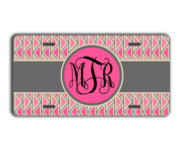 Pink car decor - Chevron in pinks and gray - Personalized license plate or frame