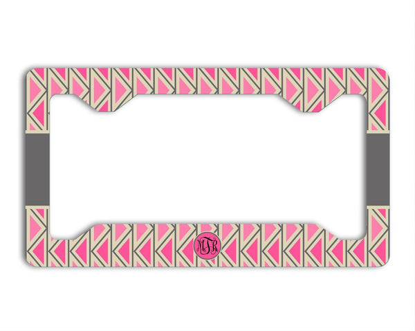 Chevron car accessories - Chevron in pinks and gray - Monogrammed license plate or frame