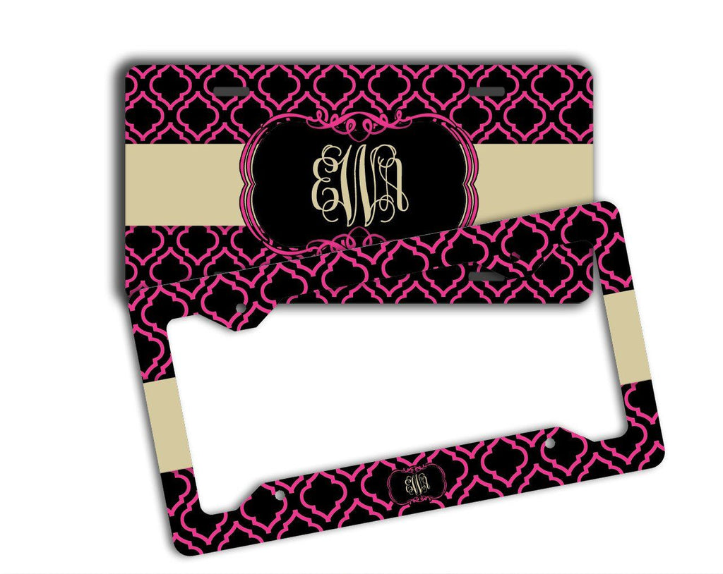 Hot pink and black clover print - Personalized vanity car tag or frame for women