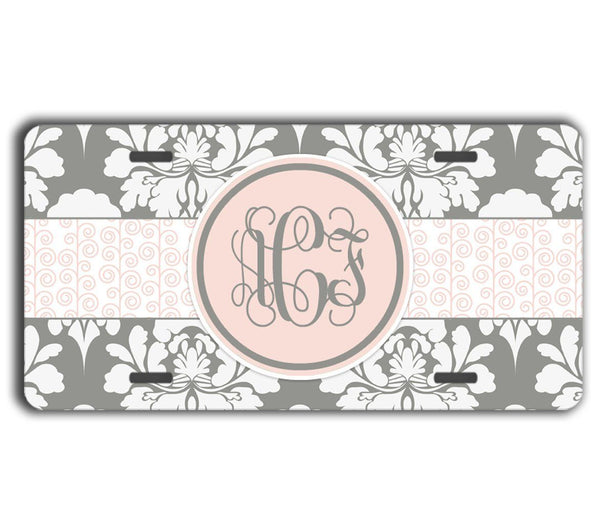 Gray floral damask with light pink - Pretty women's monogram keychain