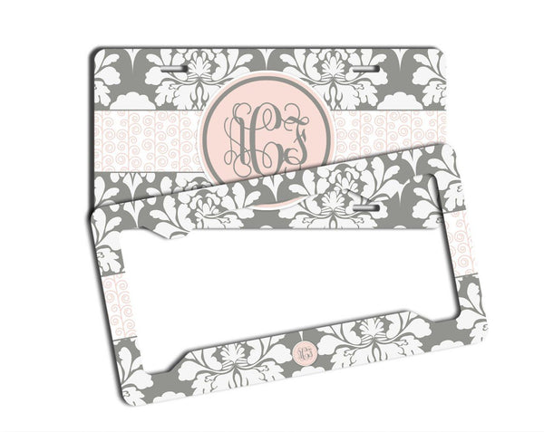 Gray floral damask with light pink - Pretty women's front license plate or frame