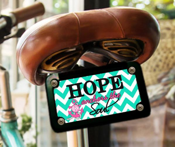 Hope anchors the Soul - Nautical front car tag with anchor and your monogram