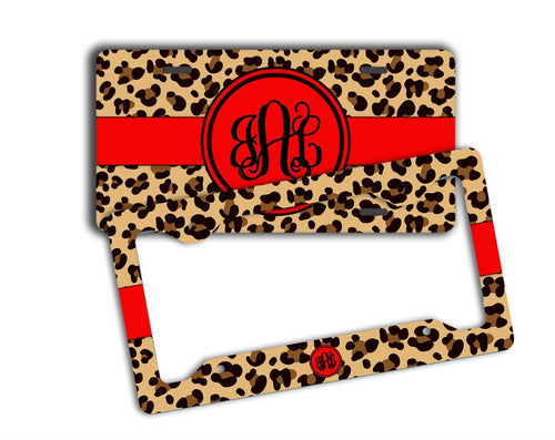 Animal print vanity car tag or frame with red - Leopard print car accessories